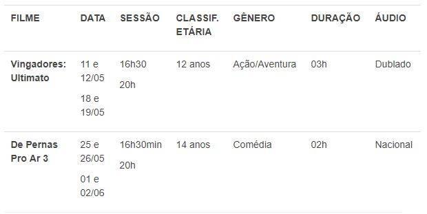 Espaço exibirá o sucesso internacional de bilheteria, 'Vingadores: Ultimato' e o filme nacional de Ingrid Guimarães 'De Pernas Pro Ar 3'